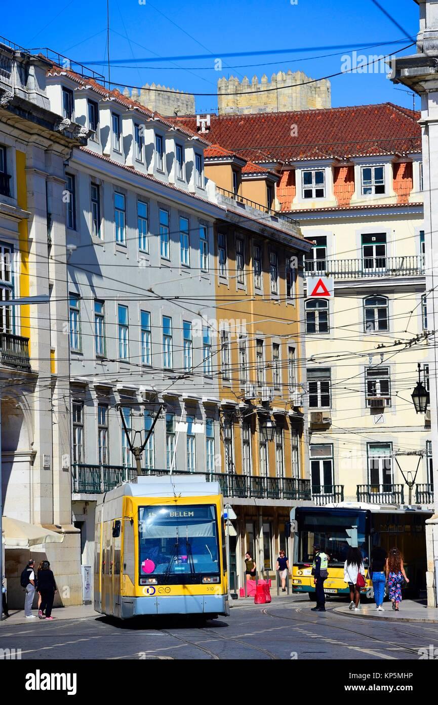 Lisbon public transport tram. Praça do Comercio,Portugal. - Stock Image