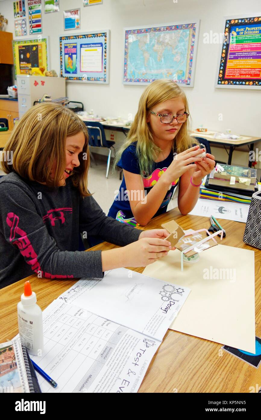 6th Grade Girls Working on Science Project, Wellsville, New York