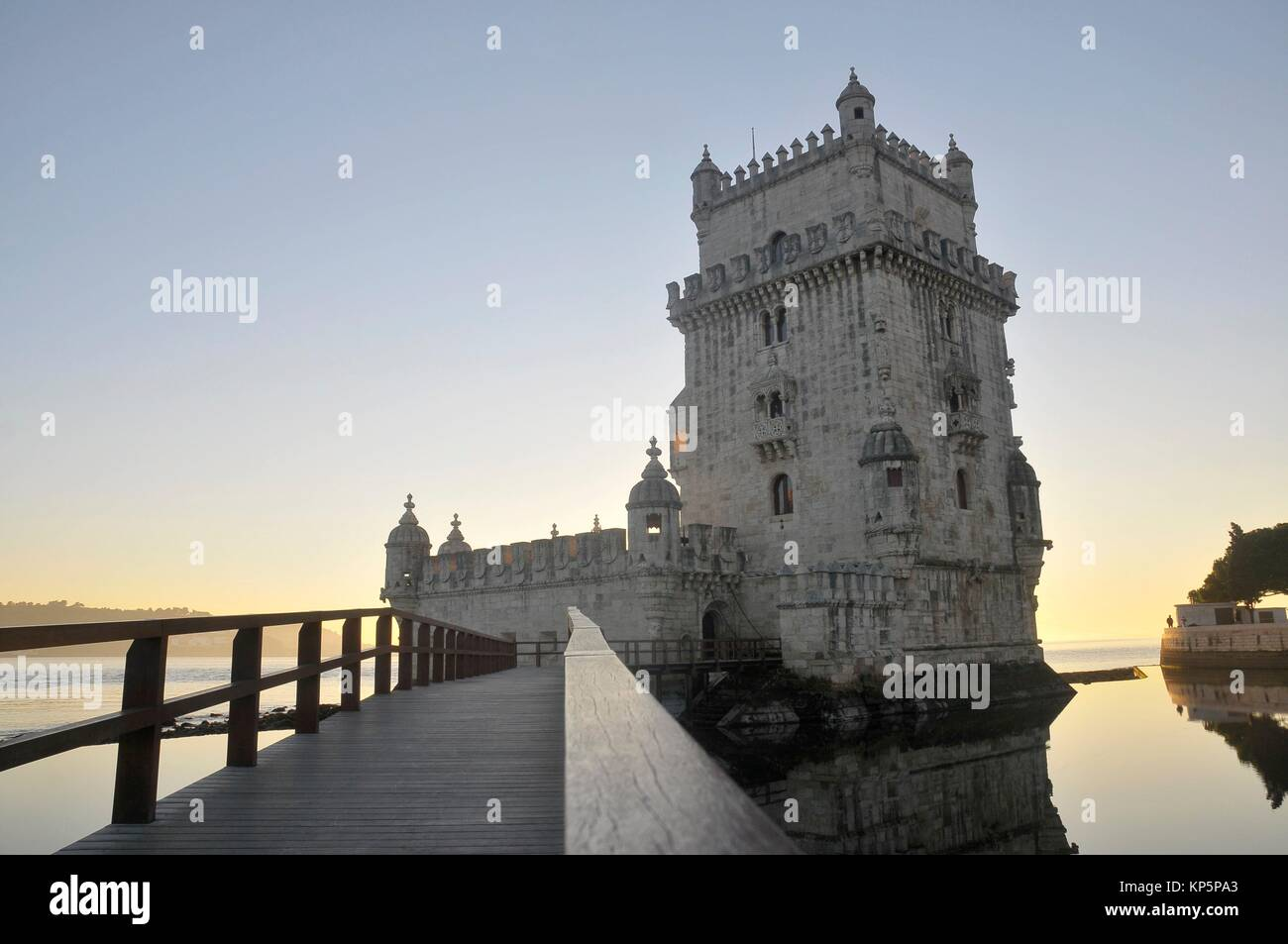 Belem tower on the Tage river in Lisbon near the Ocean Atlantic - Stock Image