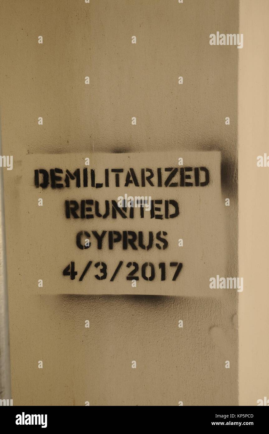 Demilitarized zone and reunited in Cyprus, Nicosia, 4 march 2017 - Stock Image