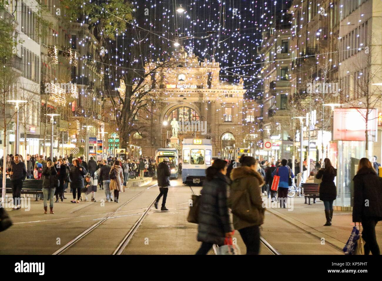 Bahnhofstrasse in Zurich decorated for Christmas on December 7, 2015. - Stock Image