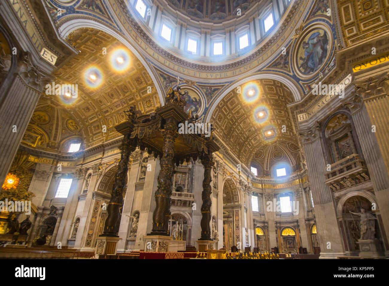 Papal Basilica of Saint Peter in the Vatican Interior on February 5, 2017 in Rome Italy. - Stock Image