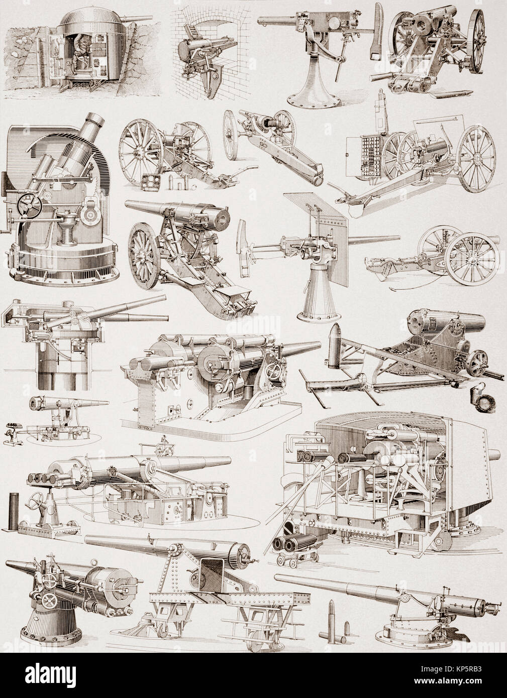 Late 19th, early 20th century heavy artillery.  From Enciclopedia Ilustrada Segui, published 1908. - Stock Image