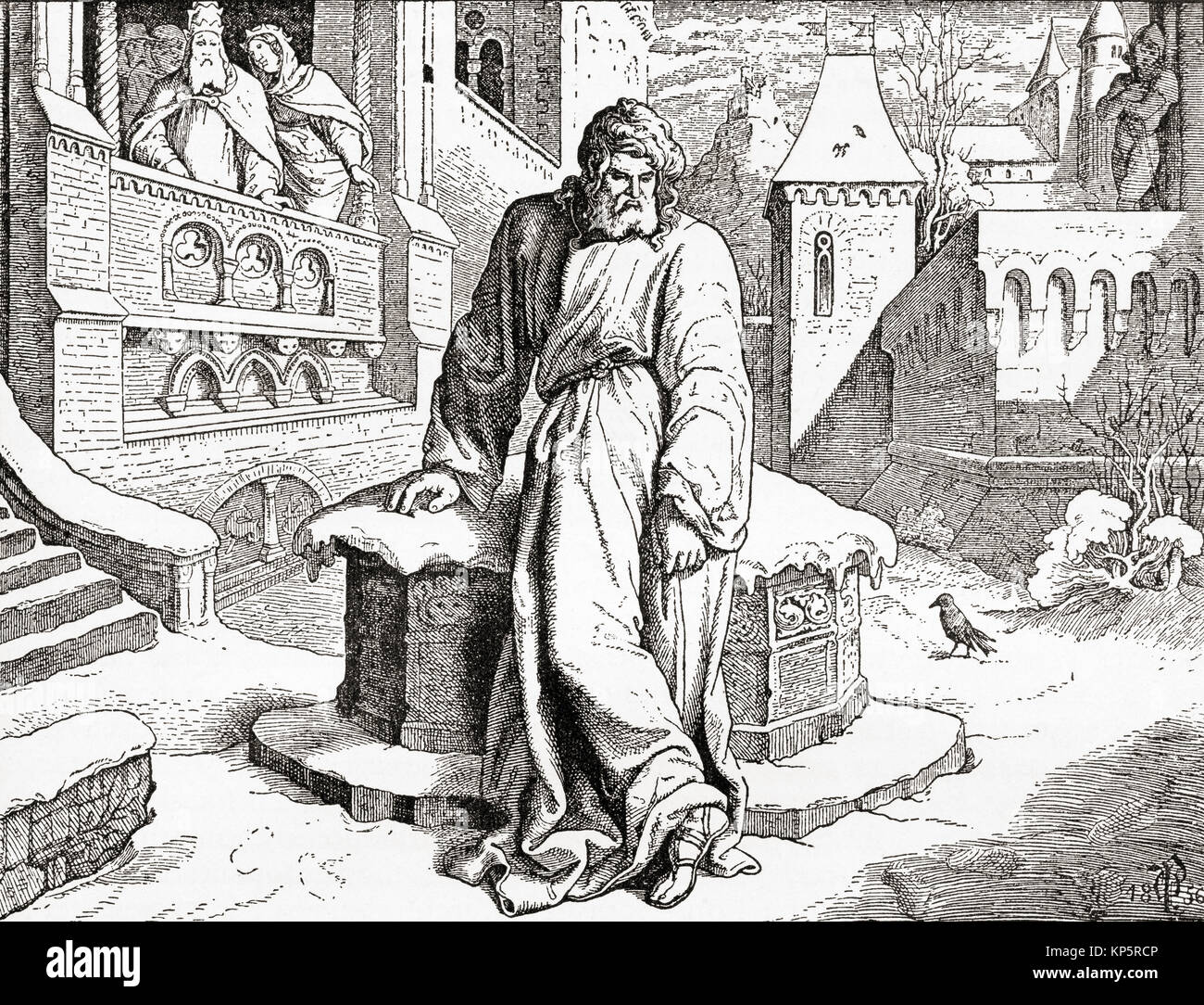 King Henry IV at Canossa in 1077 where he went  in order to obtain the revocation of the excommunication imposed - Stock Image
