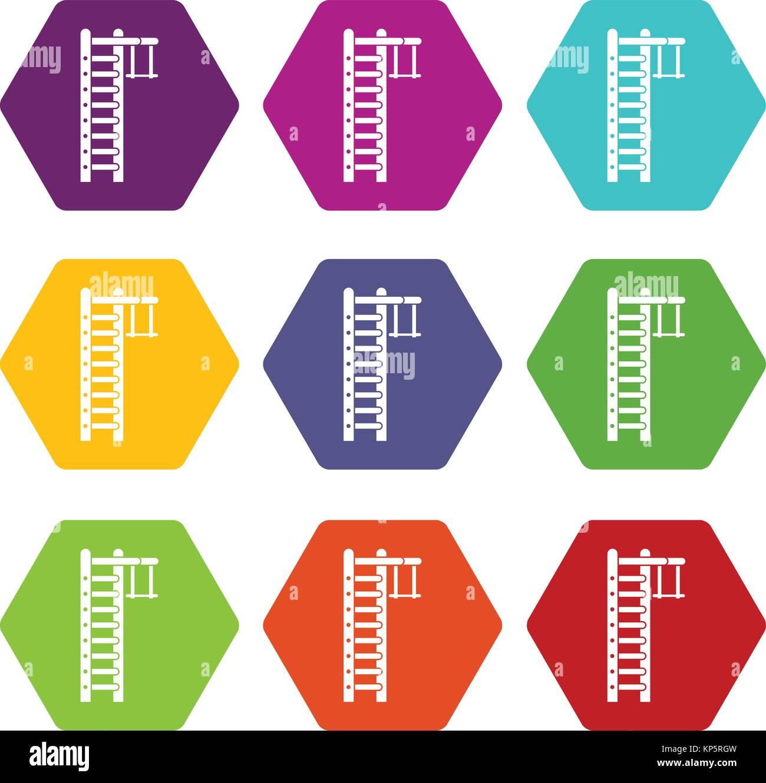 Swedish ladder icon set color hexahedron - Stock Image