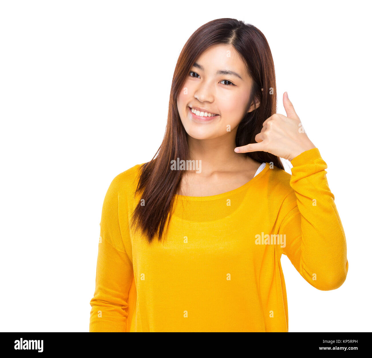 Young woman show with call me sign - Stock Image