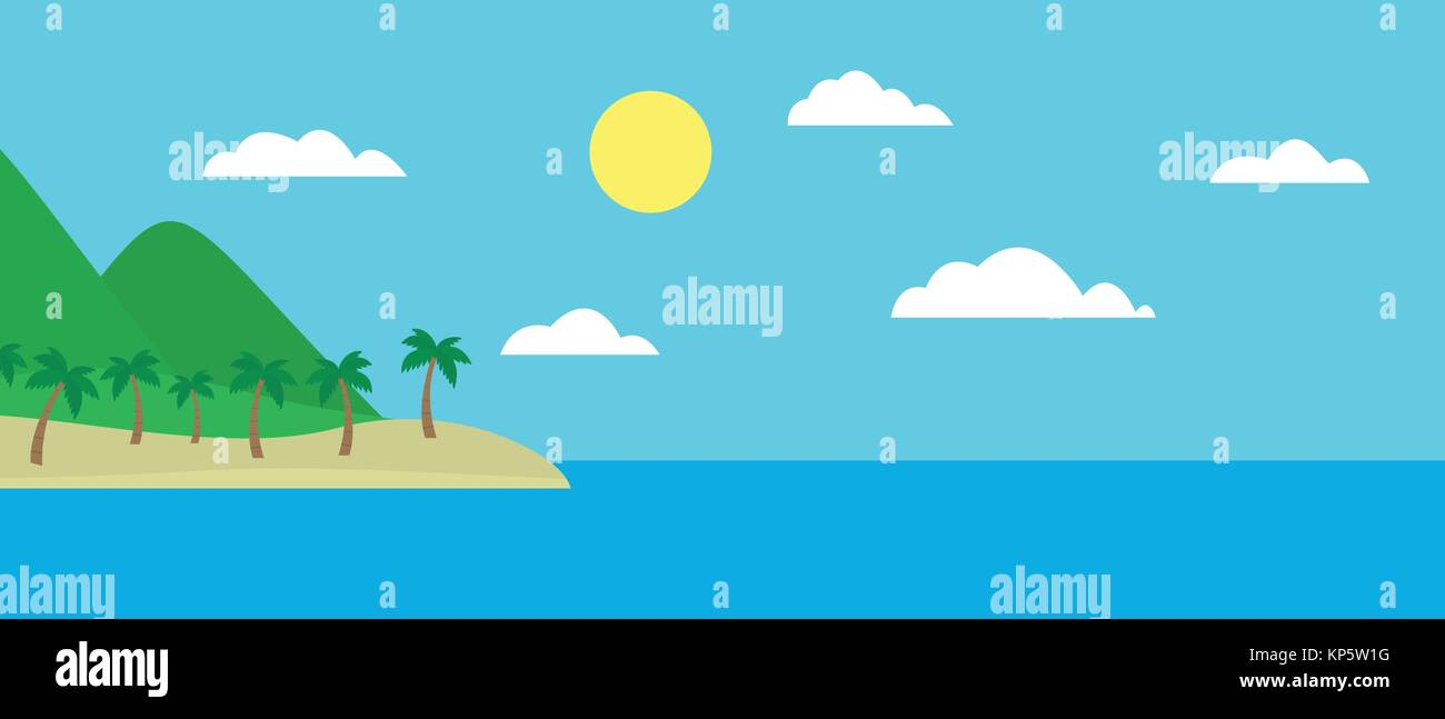 Cartoon colorful view of tropical island with beach under hills, mountains and palms in the middle of blue sea under - Stock Vector