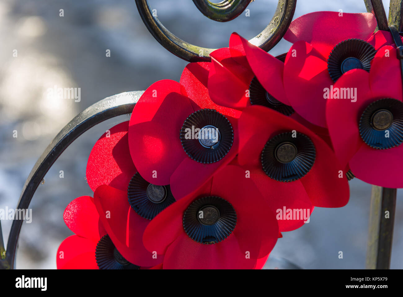 A wreath of poppies on a memorial gate flutter in the breeze. - Stock Image