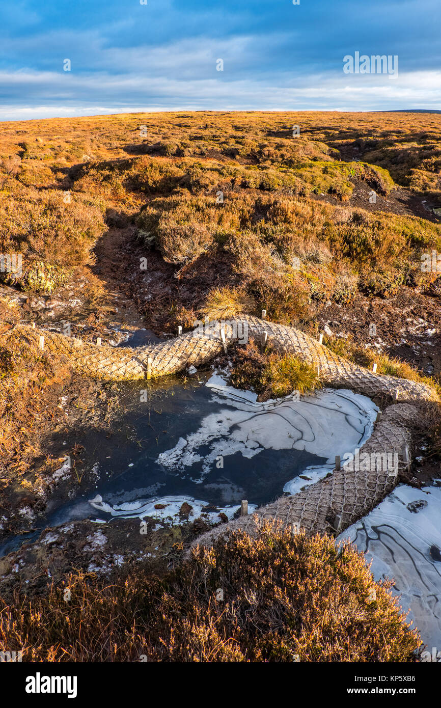 Measures to stop The Howden moors of The Dark Peak drying out, Peak District National Park - Stock Image