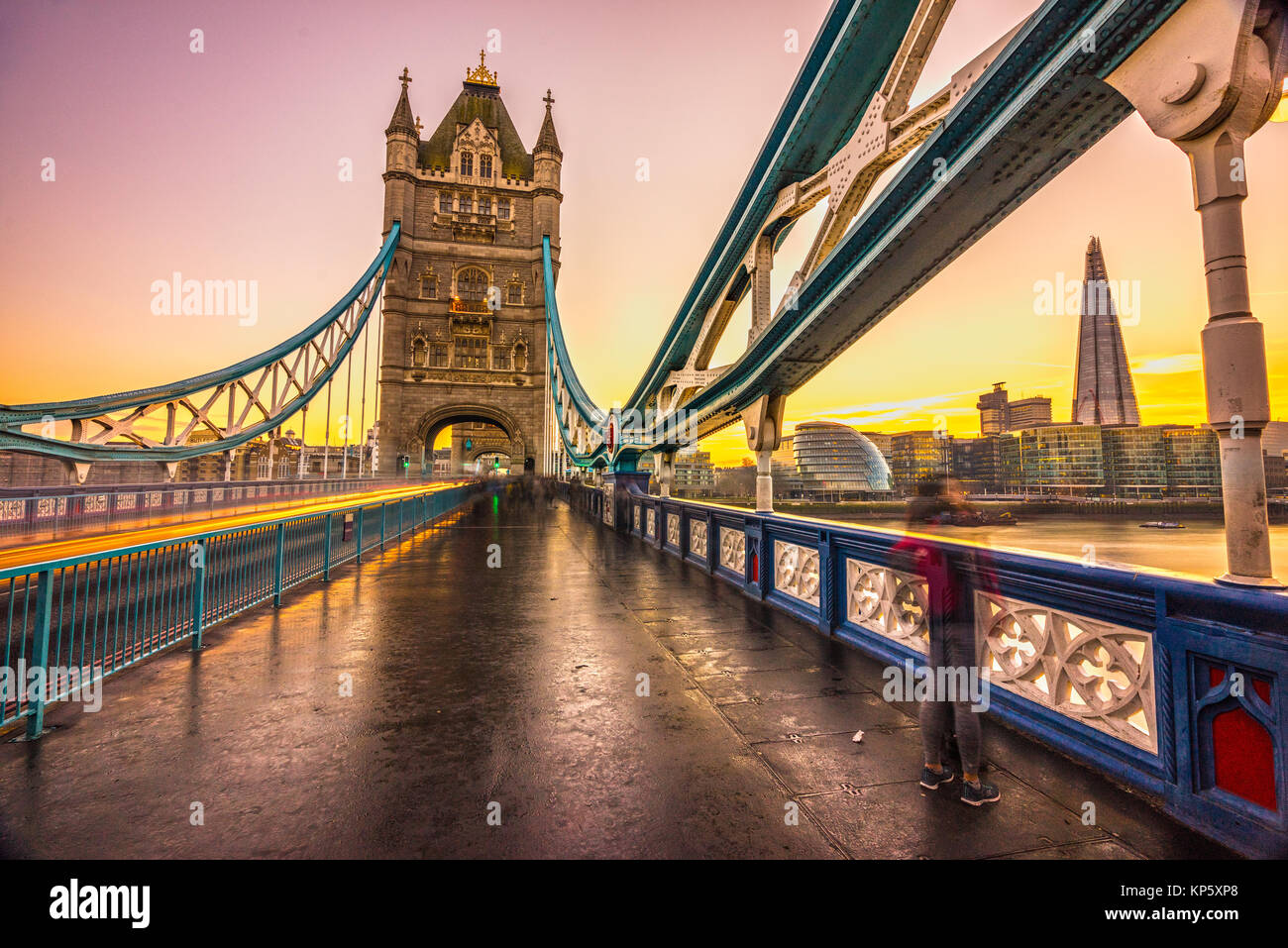 Tower Bridge, London City Hall and The Shard buildings, London, UK - Stock Image
