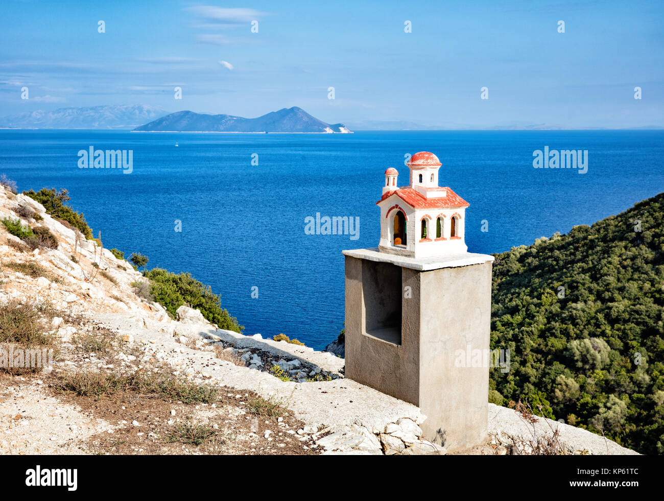 Remote roadside shrine in the form of a Greek church on the island of Ithaka in the Ionian Islands - Stock Image
