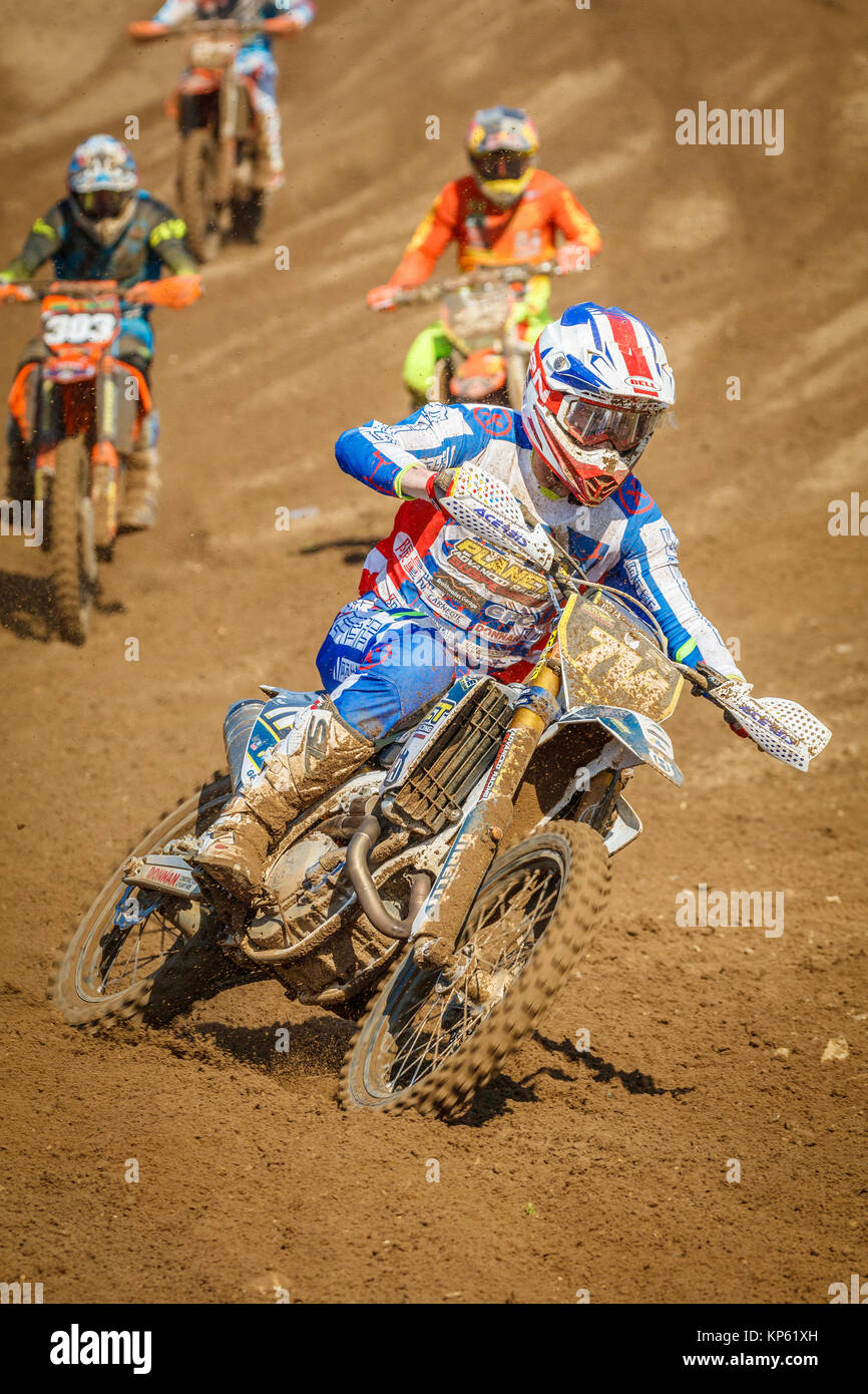 Brad Todd on the Putiline Husqvarna Planet Suspension MX2 at the Maxxis British Motocross Championship, Lyng, Cadders - Stock Image