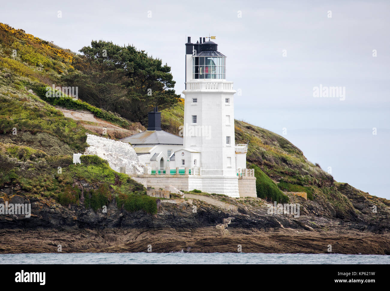 St Anthony's Head lighthouse on St Anthony Head on the Roseland peninsula near Falmouth in Cornwall UK Stock Photo