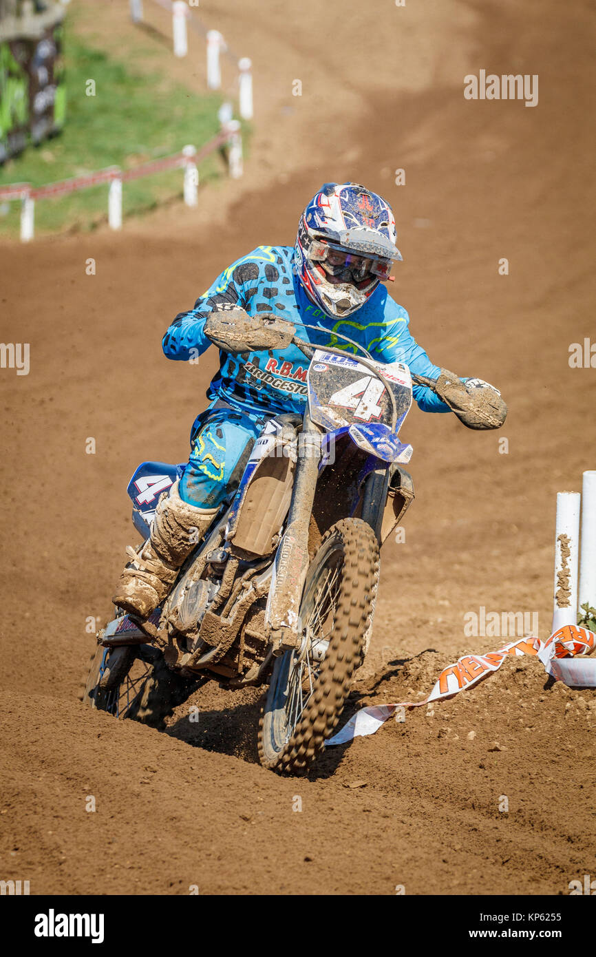 Robert Yates on the IDS Transport Ltd Yamaha MX2 at the Maxxis British Motocross Championship, Lyng, Cadders Hill, - Stock Image