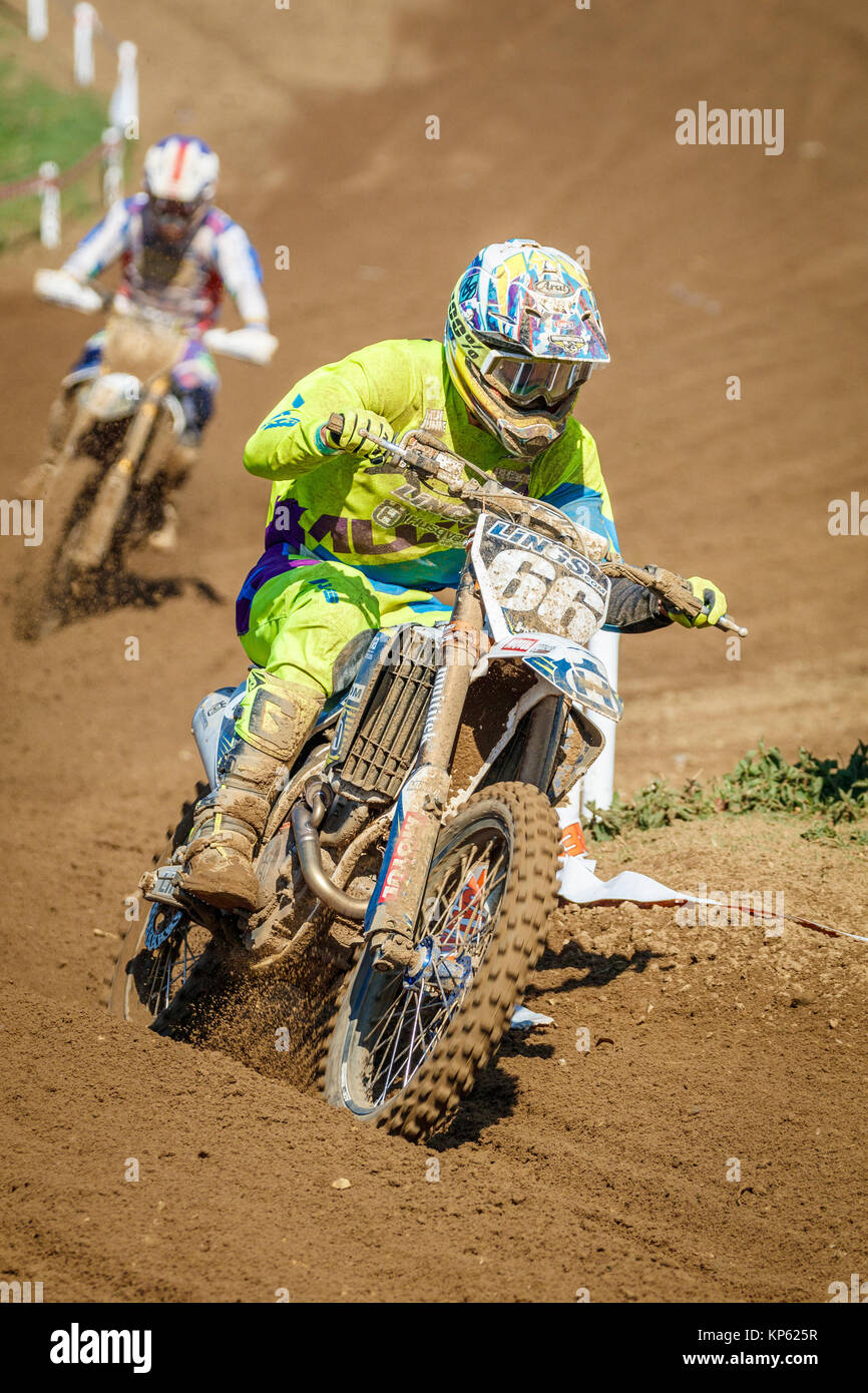 Lewis Tombs on the Lings Husqvarna MX2 at the Maxxis British Motocross Championship, Lyng, Cadders Hill, Norfolk, - Stock Image