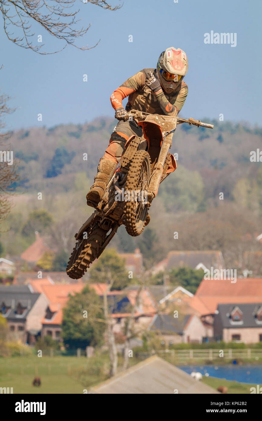 Solo bike action at the 2017 Maxxis British Motocross Championship, Lyng, Cadders Hill, Norfolk, UK. - Stock Image