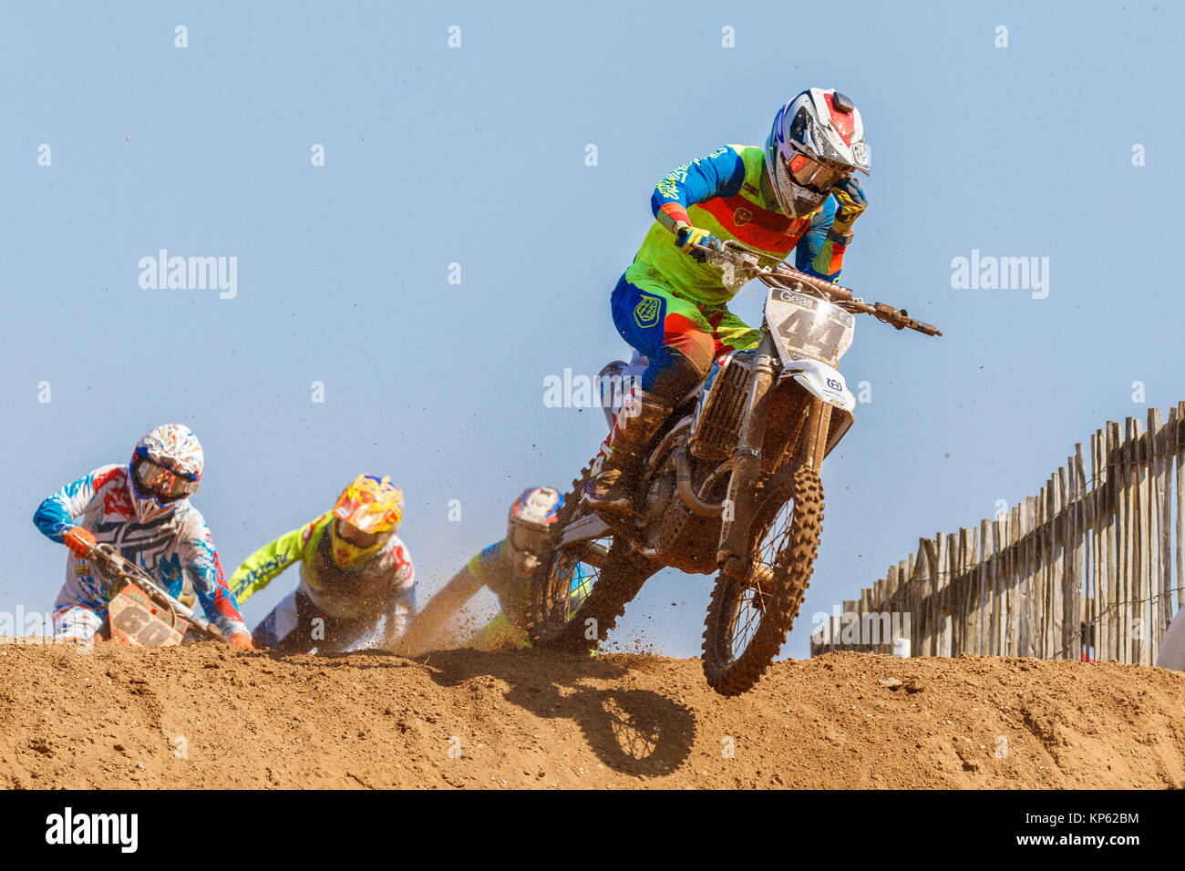 Elliott Banks-Browne on the Geartec Husqvarna Racing MX1 at the Maxxis British Motocross Championship, Lyng, Cadders - Stock Image