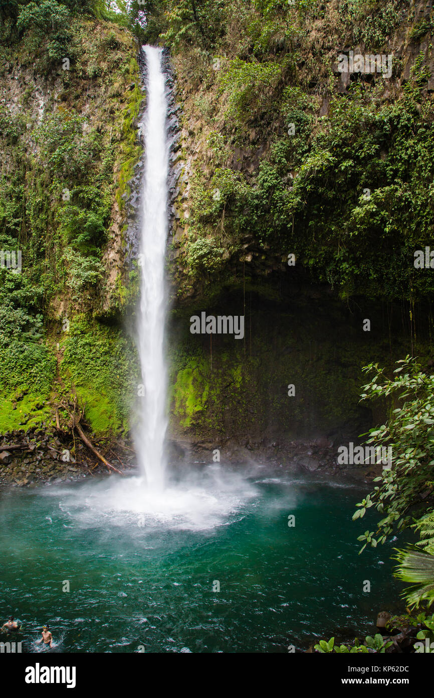 Plunge pool of La Fortuna Waterfall or Catarata Fortuna near the Arenal volcano in Northern Costa Rica - Stock Image