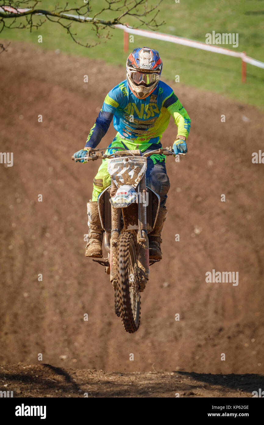 Kristian Whatley on the Apico Husqvarna MX1 at the Maxxis British Motocross Championship, Lyng, Cadders Hill, Norfolk, - Stock Image