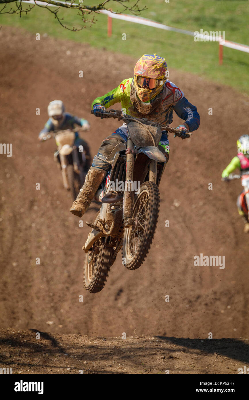 Honda MX1 class Motorcross entrants at the 2017 Maxxis British Motocross Championship, Lyng, Cadders Hill, Norfolk, - Stock Image