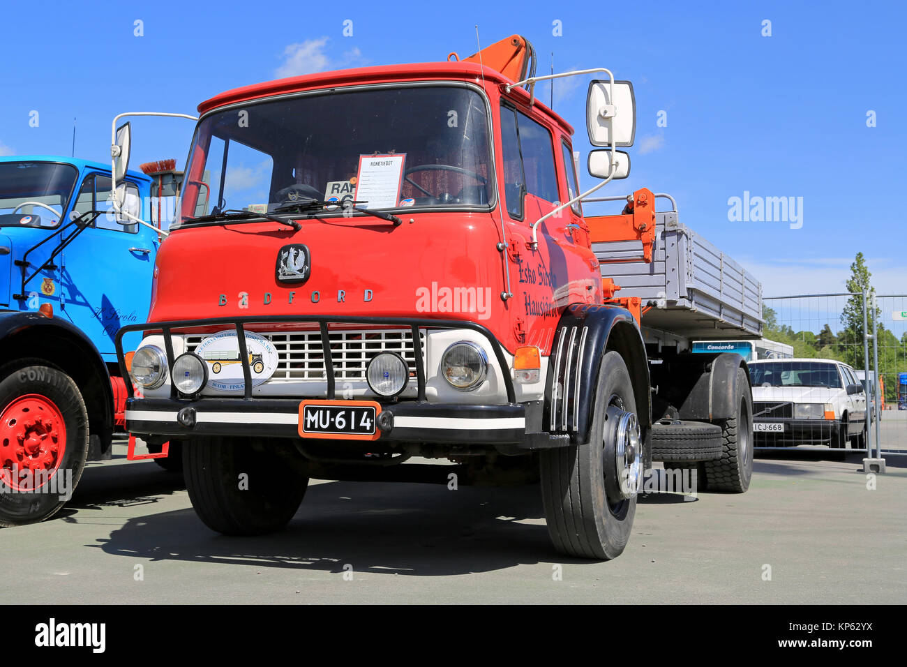 HELSINKI, FINLAND - JUNE 11, 2015:  Classic Bedford truck 1972 with demountable platform and crane at Logistics - Stock Image