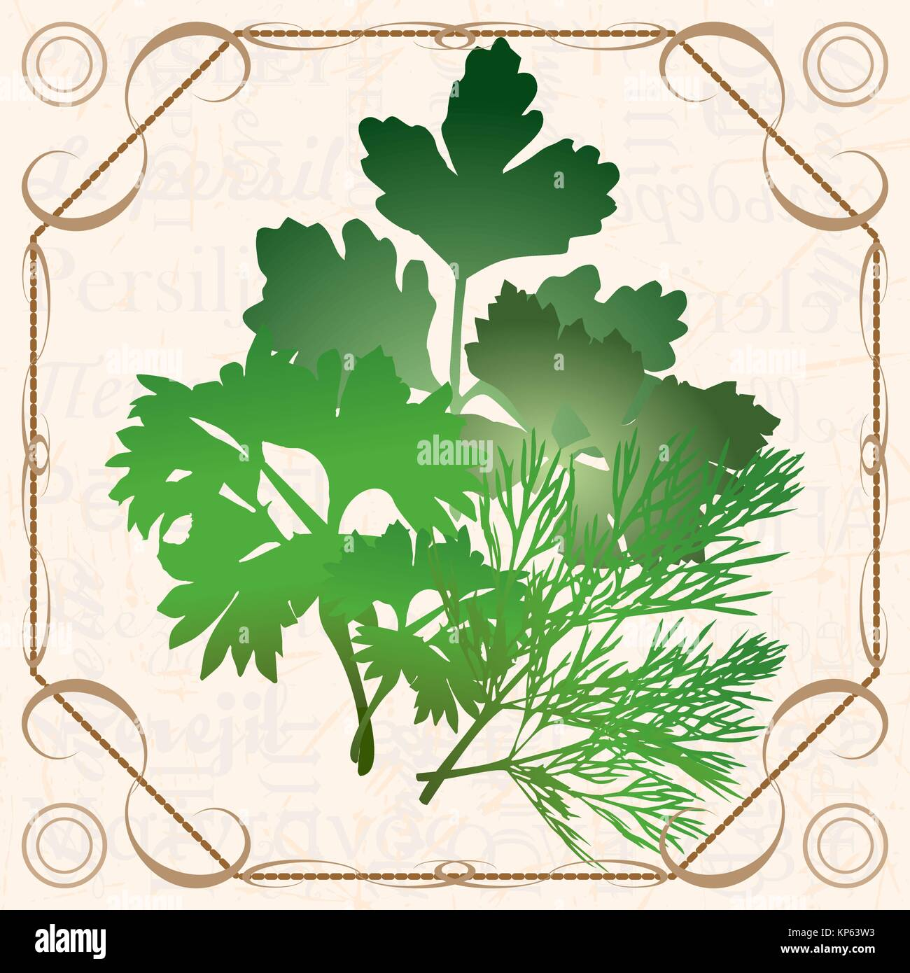 Sprig of in vintage style - Stock Vector