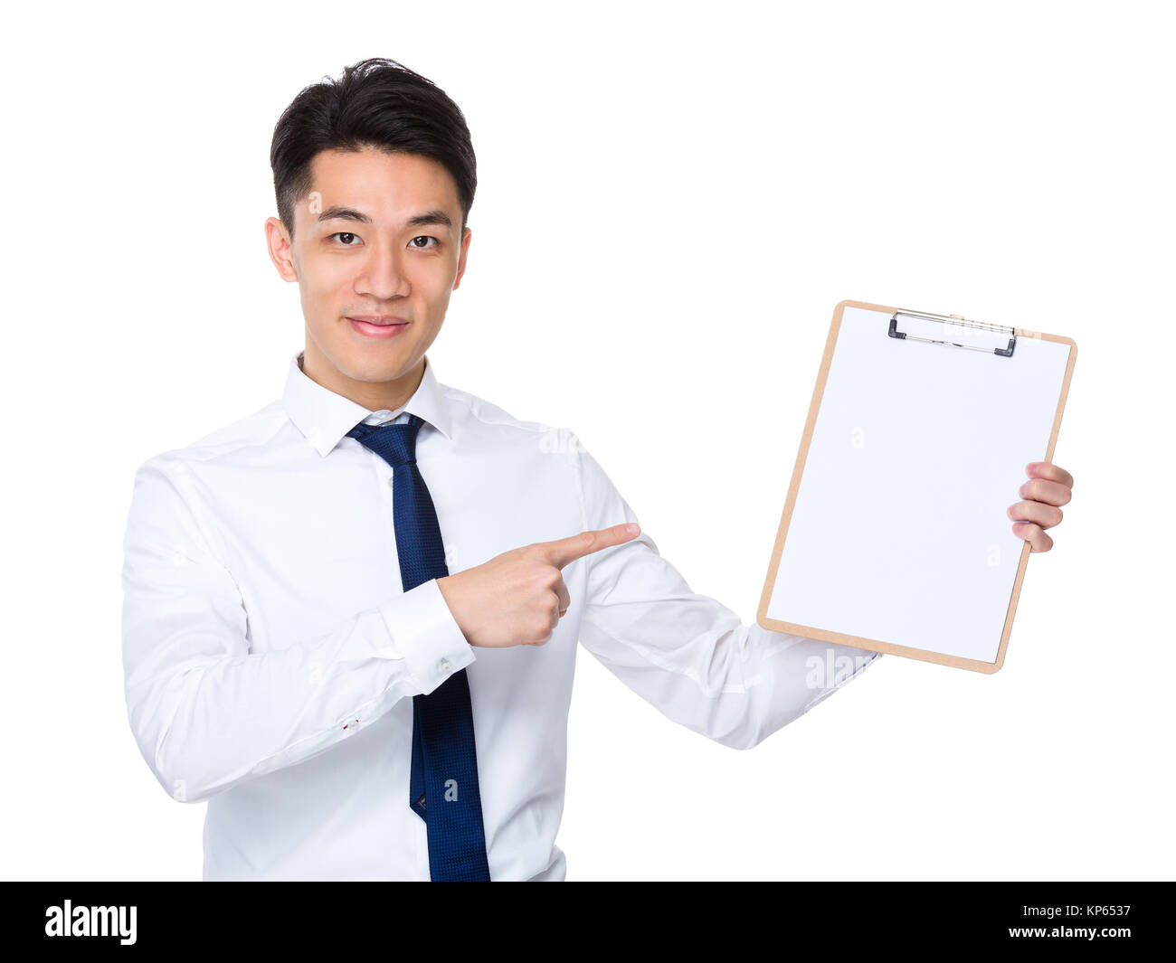 Businessman finger point to clipboard - Stock Image
