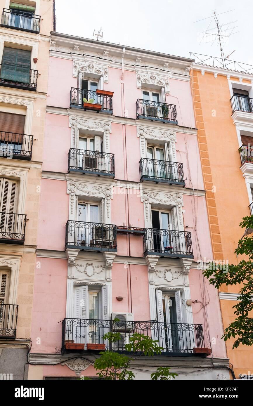 Pink Building In Plaza De Chueca Madrid Spain Stock Photo