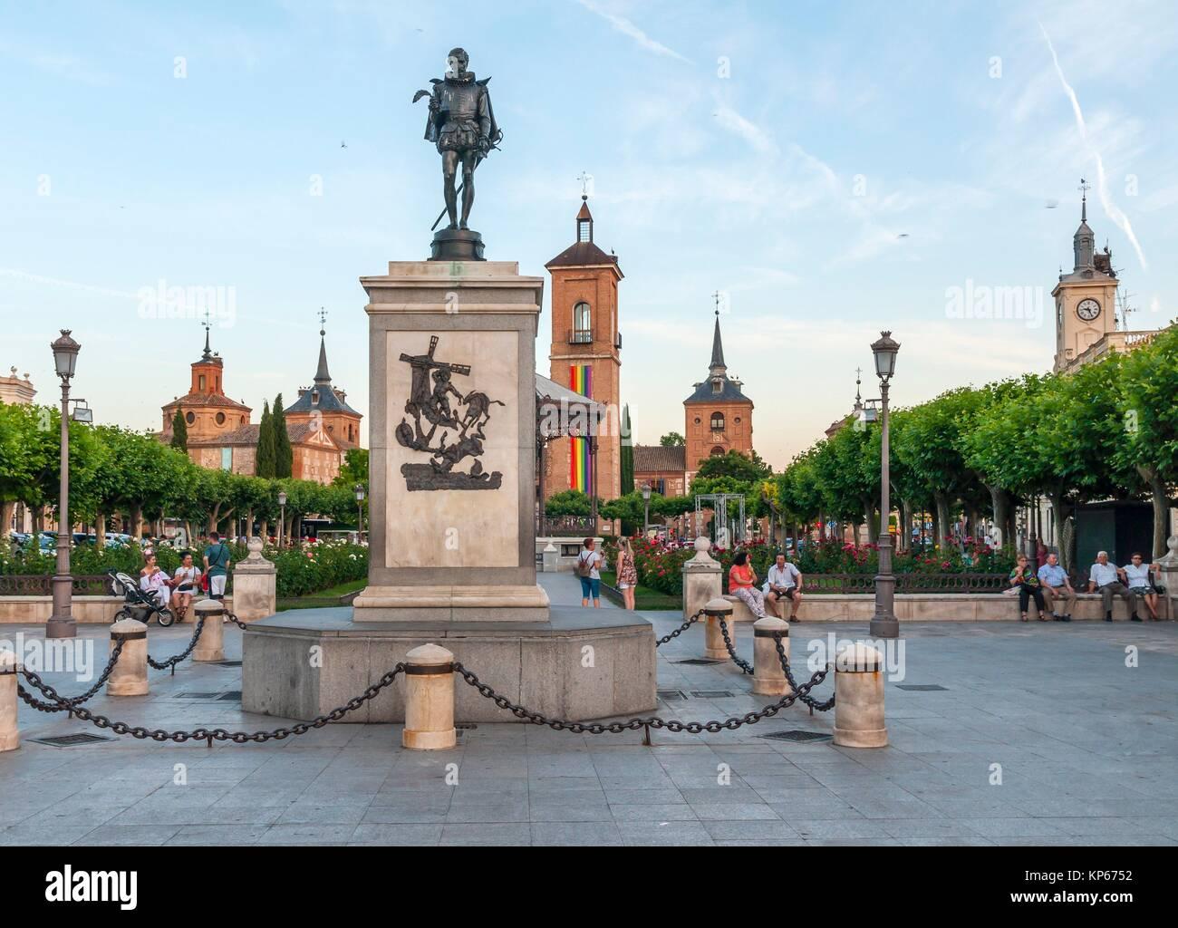 Plaza de Cervantes. Alcalá de Henares. Madrid. Spain. - Stock Image