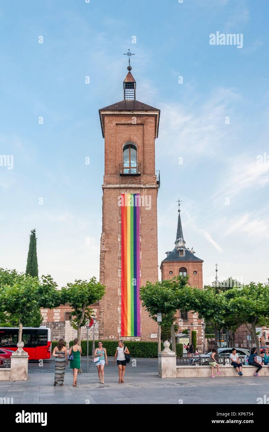 Torre de Santa María. Plaza de Cervantes de Alcalá de Henares. Madrid. Spain. - Stock Image