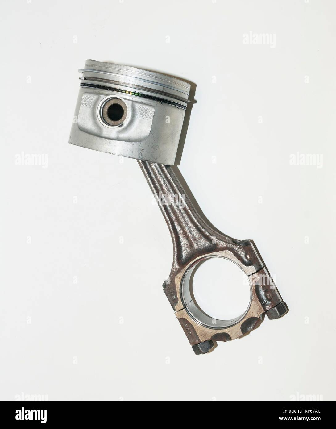 Piston and connecting rod, part of automotive engine - Stock Image