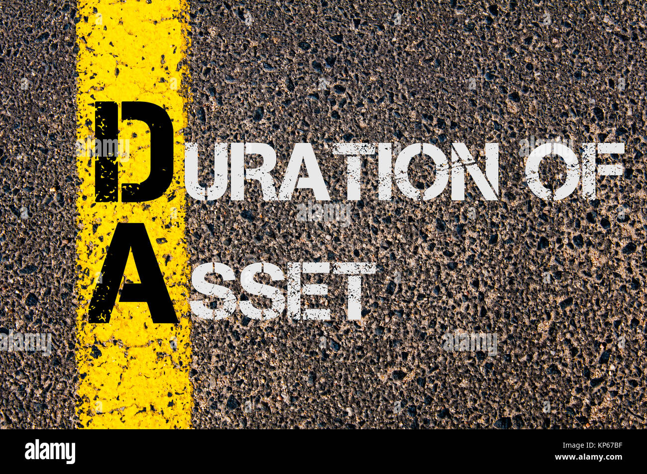 Business Acronym DA as DURATION OF ASSET - Stock Image