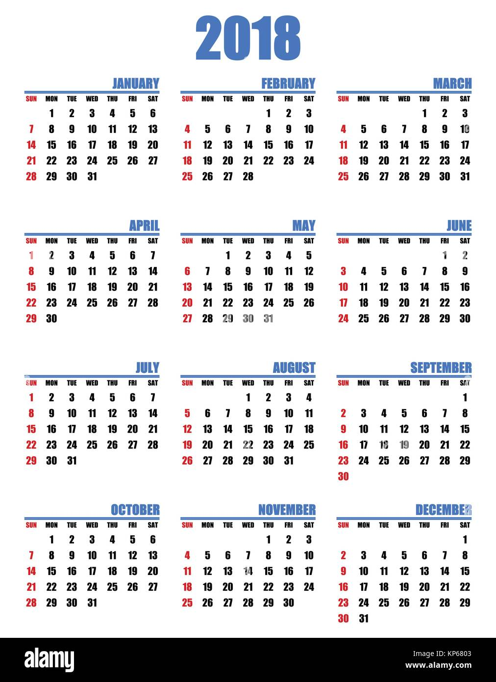 simple editable vector calendar for year 2018 sundays in red first stock image