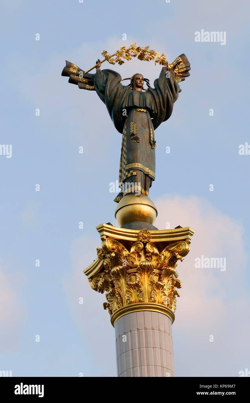 Peasant Girl Slavic Goddess Berehynia, symbol of Ukraine Independence and Orange Revolution, Independence Square, Stock Photo