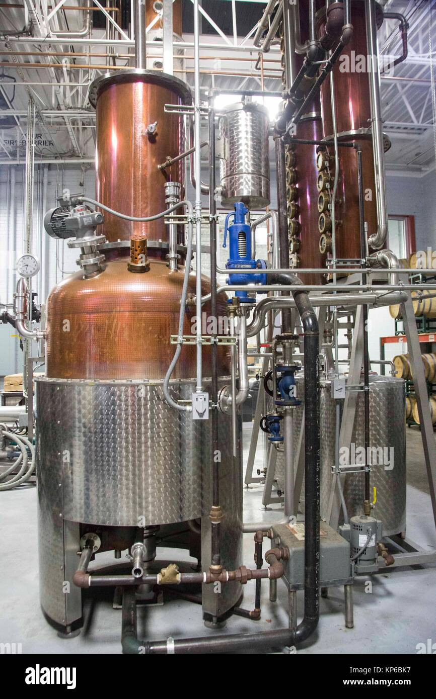 Electronic Fermentation equipment at a whisky, gin, vodka distillery in the USA. Beautiful cooper German equipment. - Stock Image