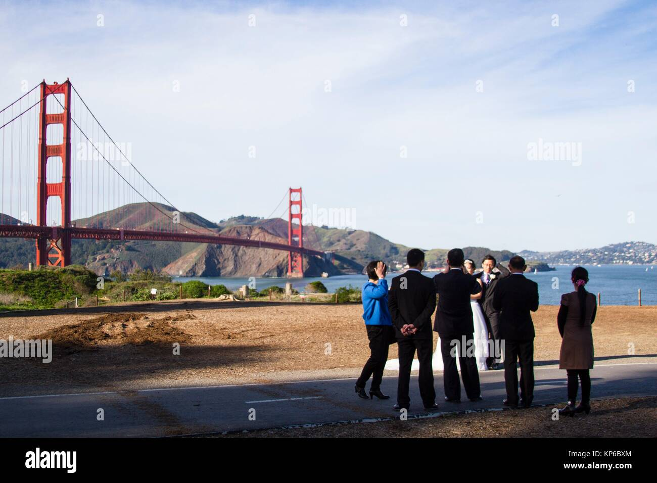 Bride, groom and groomsmen all dressed up in suits, and tuxedos, are getting their photo taken by the photographer - Stock Image