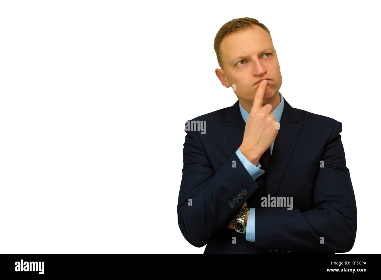 portrait of buisness man looking upwards daydreaming something. - Stock Image