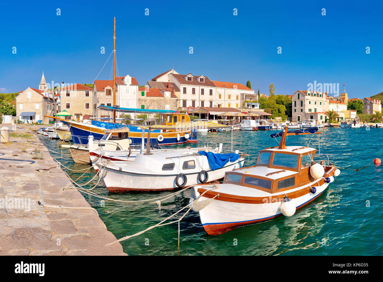 Island of Zlarin harbor panoramic view, Sibenk archipelago of Croatia - Stock Image
