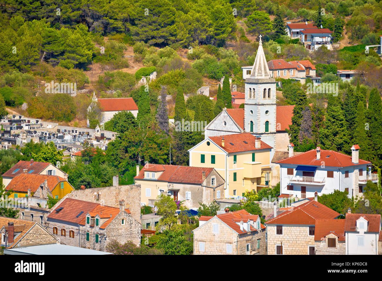 Island of Zlarin stone architecture view, Sibenik coral archipelago of Dalmatia, Croatia - Stock Image