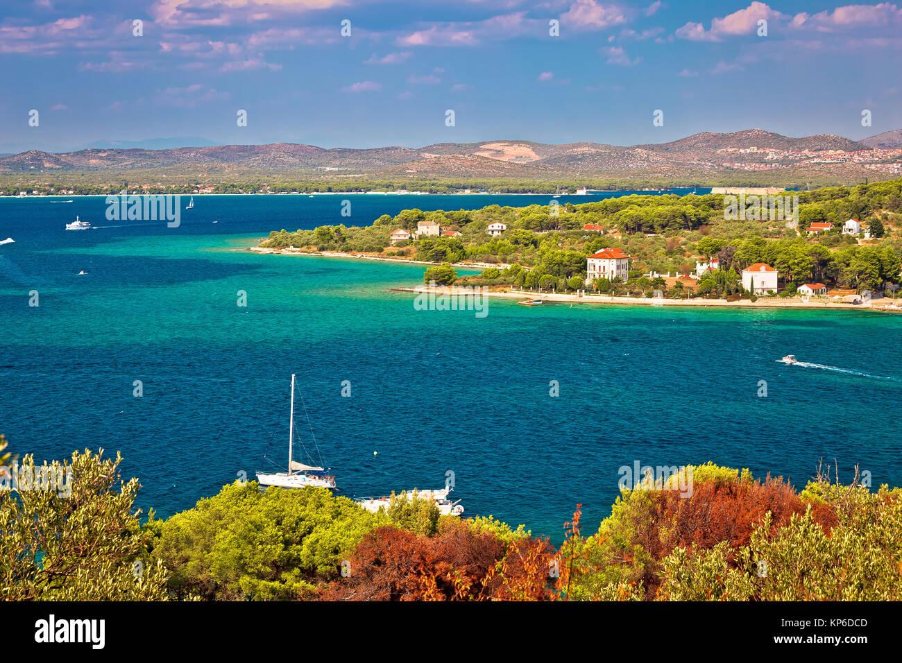 Island of Zlarin and archipelago of Sibenik view, Dalmatia region of Croatia - Stock Image