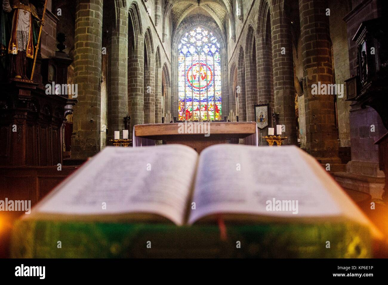 View from the pulpit where the priest, preacher or minister preaches and reads his bible. From view close up of - Stock Image