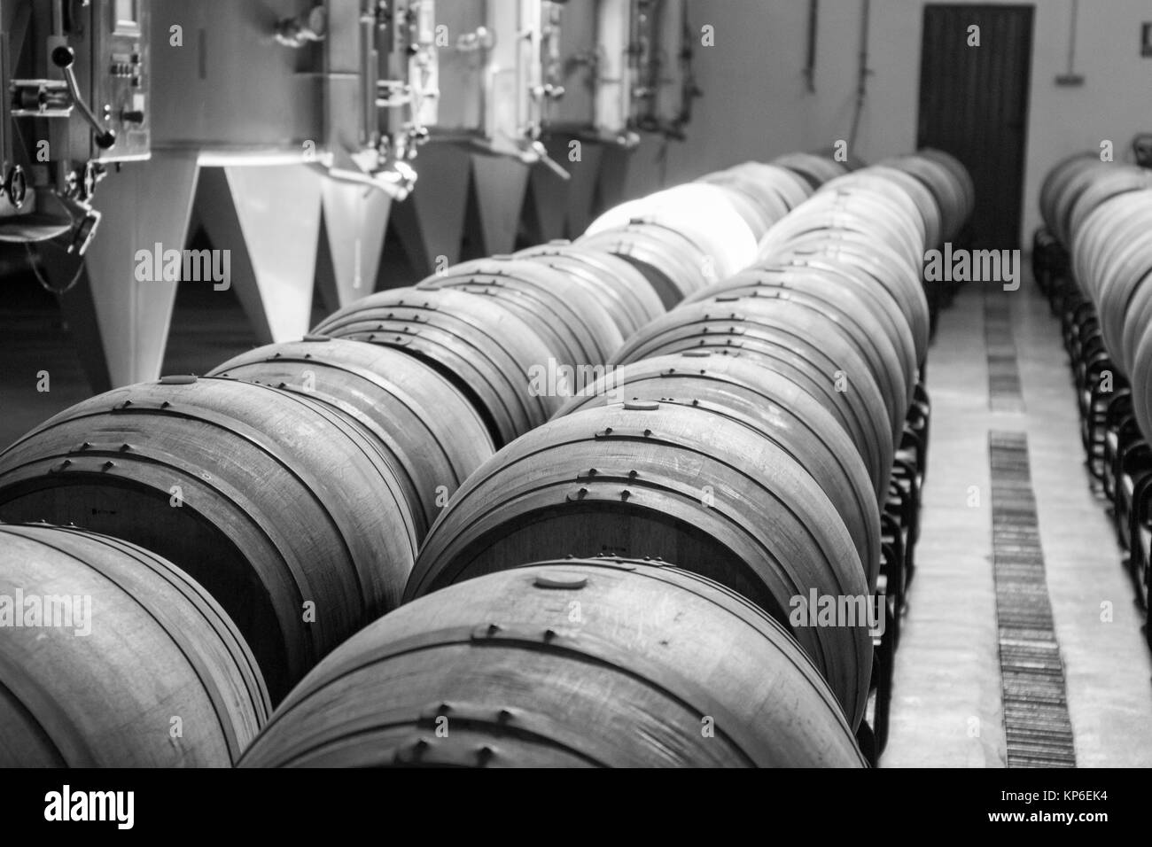 Cellar interior in La Mancha Albacete Spain Los Aljibes vinery on February 12, 2017. - Stock Image