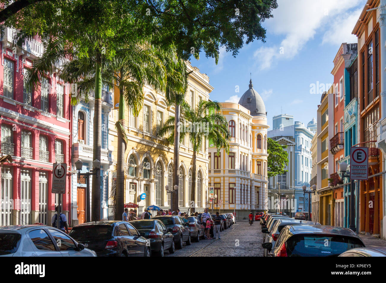 Colorful houses in the historical centre | Recife | Brazil - Stock Image