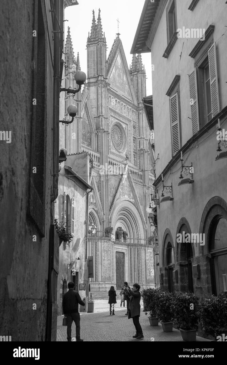 Cityscape in the medieval city of Orvieto on February 7, 2017 Umbria Italy. - Stock Image
