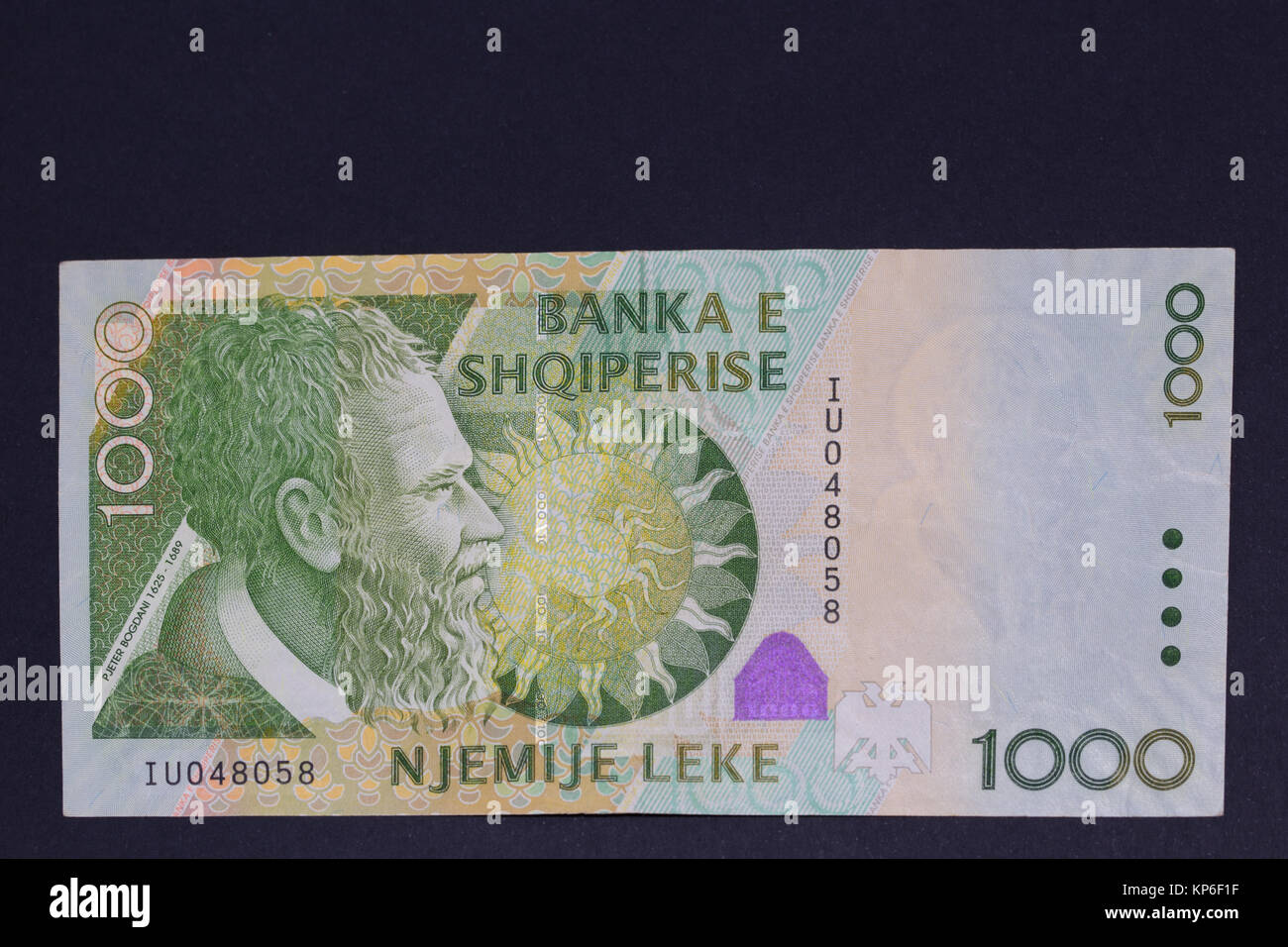 Obverse of Albanian currency one thousand 1000 Lek banknote - Stock Image