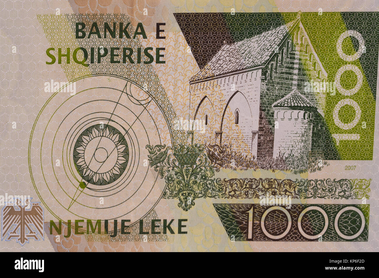 Reverse of Albanian currency one thousand 1000 Lek banknote - Stock Image