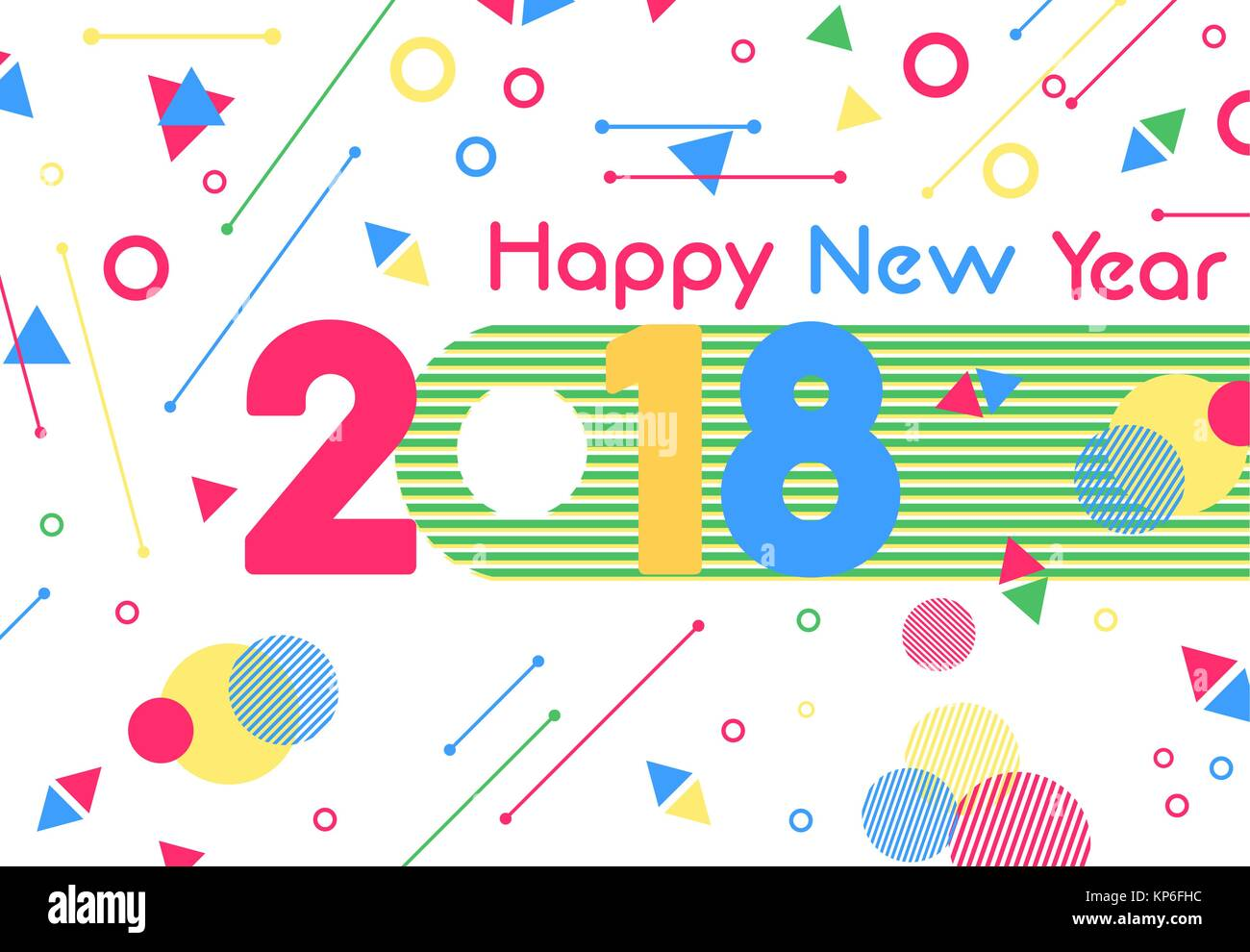 Happy New Year 2018 greeting card cutout illustration, number Stock ...
