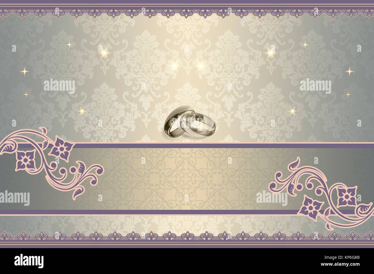 Elegant Background With Beautiful Patterns And Gold Rings