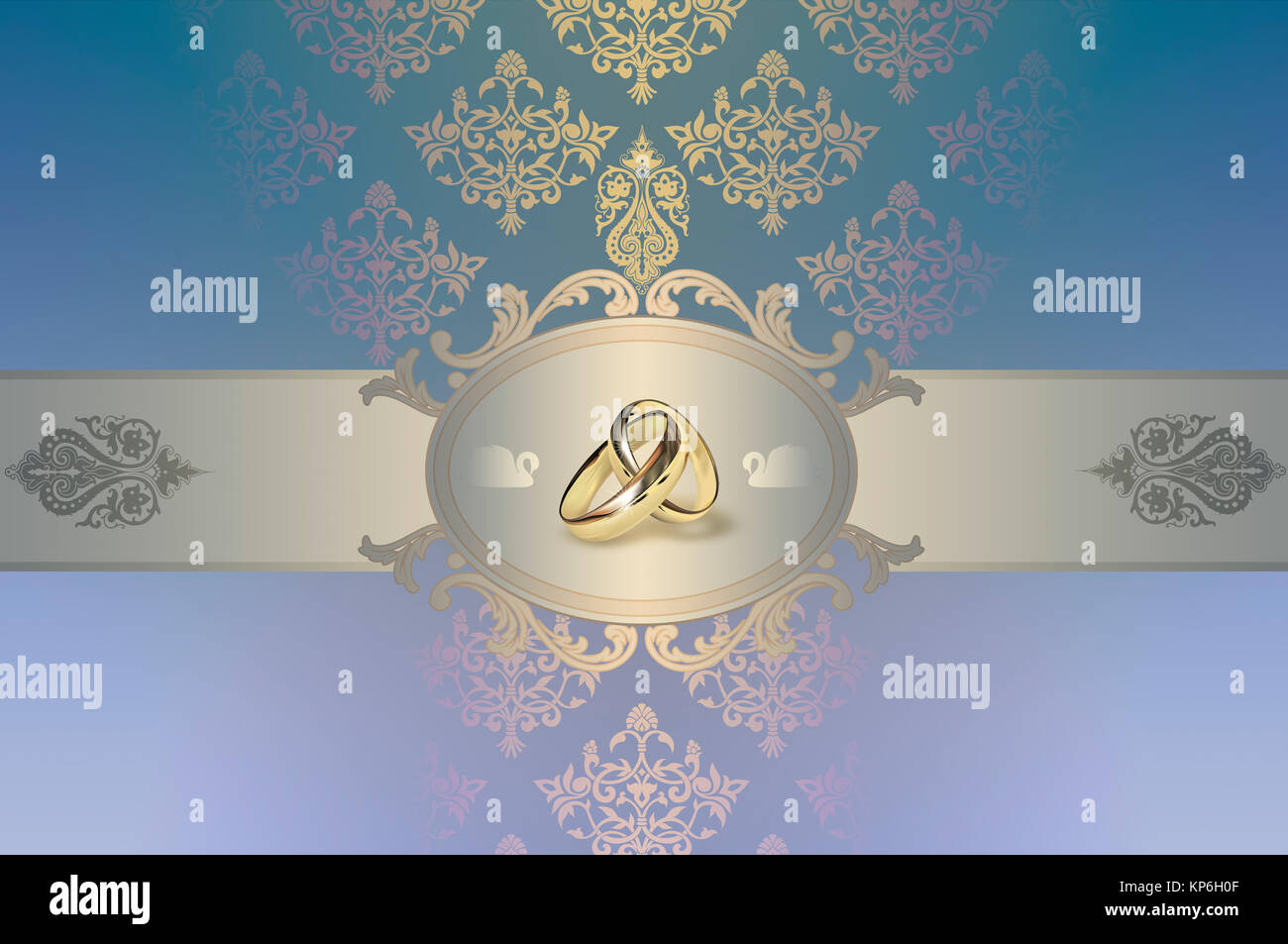 Decorative Background With Gold Rings And Frame For The
