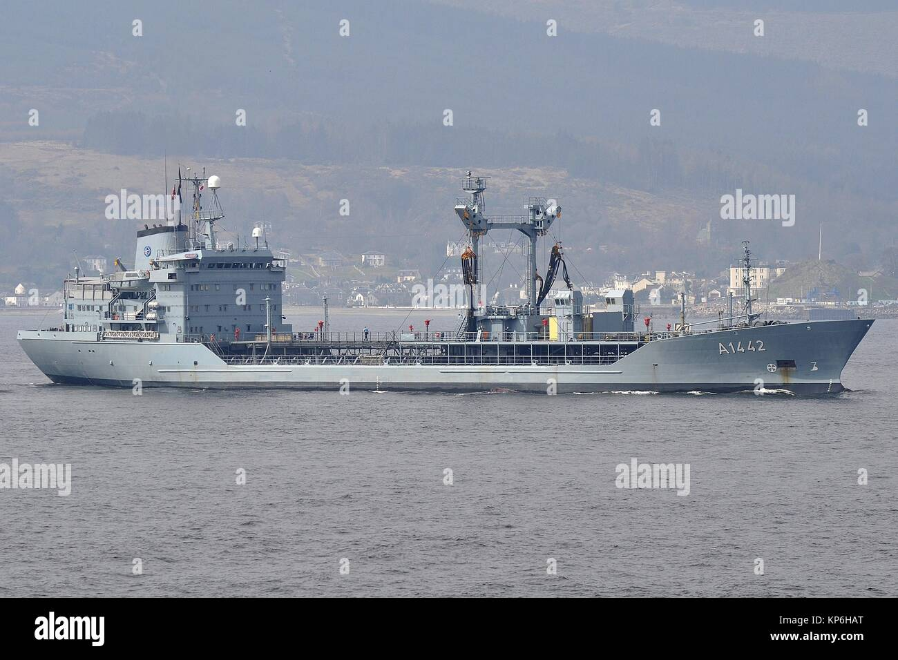 A1442 FGS SPESSART, RHON CLASS REPLENISHMENT OILER OF THE GERMAN NAVY. - Stock Image